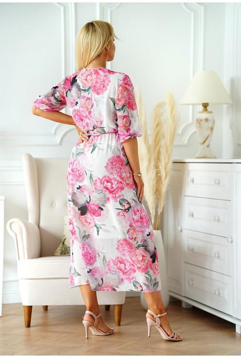 sukienka maxi kremowa plus size