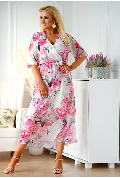 Kremowa sukienka maxi w duże różowe kwiaty