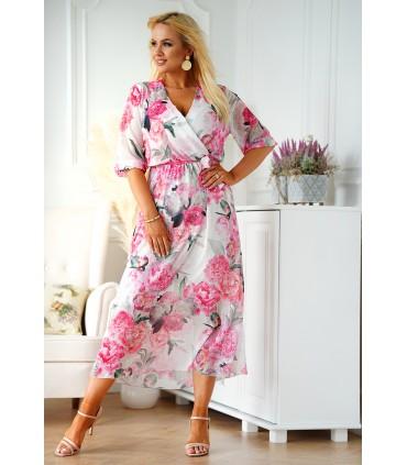 Kremowa sukienka maxi w duże różowe kwiaty z kopertowym dekoltem - ADELA
