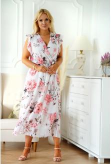 Biała sukienka maxi w różowe kwiaty