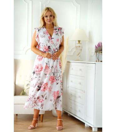 Biała sukienka maxi w różowe kwiaty z krótkim rękawkiem - Alister