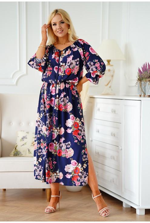 granatowa sukienka camelia xxl