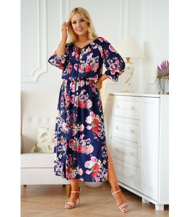 Granatowa sukienka hiszpanka w kwiaty - Camelia
