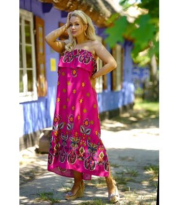 Różowa sukienka hiszpanka z żółtym wzorem - Aveli