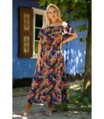 Granatowa hiszpanka maxi z wzorem w kolorowe liście - Raisa