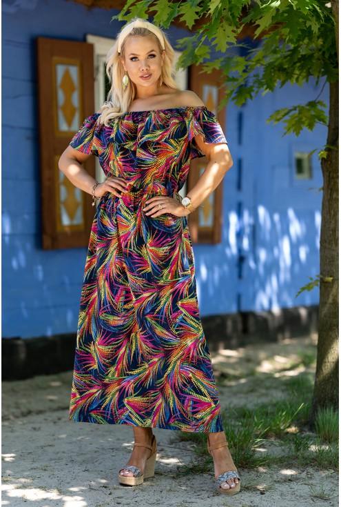 hiszpanka maxi z wzorem w kolorowe liście