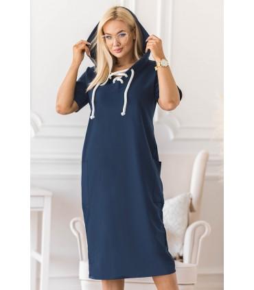 Sukienka w kolorze jeansowym plus size z wiązaniem na dekolcie - Siena