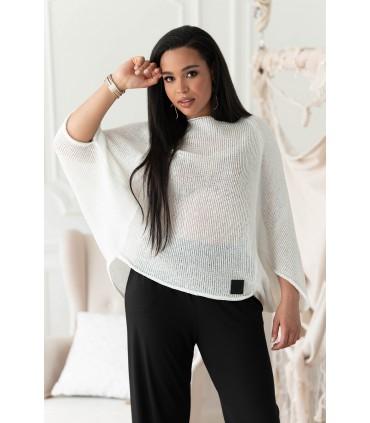 Biały sweterek z obniżoną linią ramion - Camila