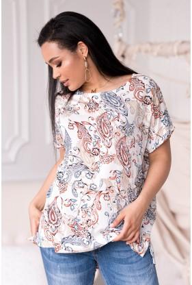 Kremowa bluzka w orientalny wzór
