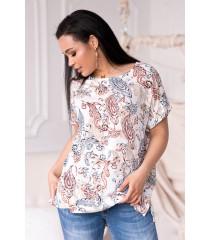 Kremowa bluzka w orientalny wzór - Molena