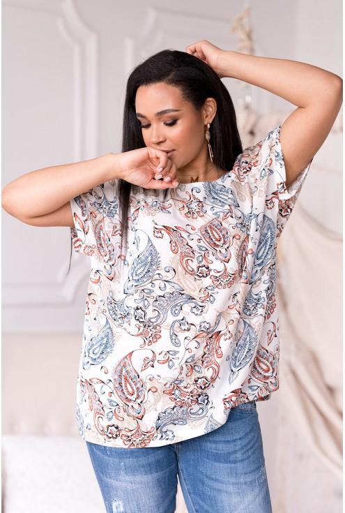 kremowa bluzka plus size z wzorem