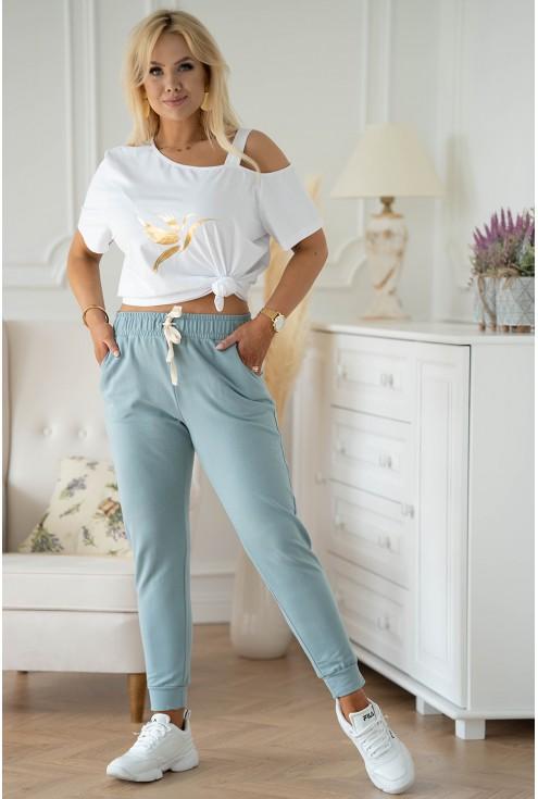 seledynowe spodnie dresowe Michaela