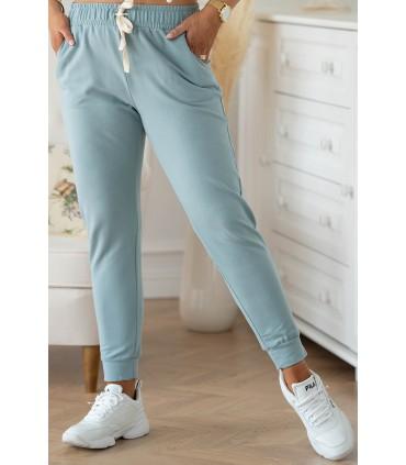 Seledynowe spodnie dresowe plus size - Michaela