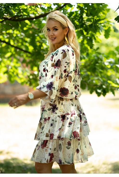 kremowa sukienka XXL Litia w kwiaty