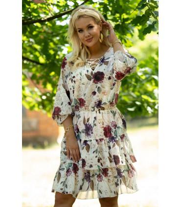 Kremowa sukienka w bordowo-fioletowe kwiaty z falbanami - LITIA