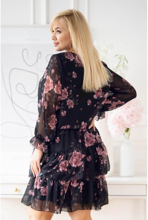 Grantowa sukienka z szyfonu plus - wzór kwiatowy