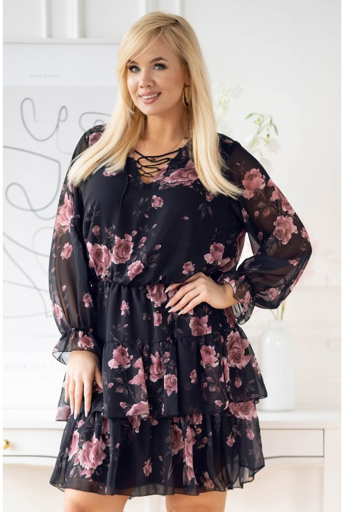 Grantowa sukienka z szyfonu plus size w róże  - LITIA