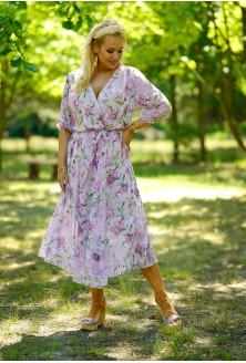 Pudrowa sukienka maxi z kopertowym dekoltem