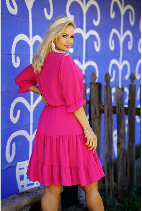 sukienka różowa z falbanami XXL