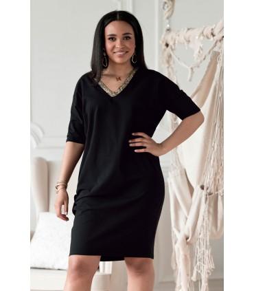 Bawełniana czarna sukienka z dekoltem V w panterkę - Felisa