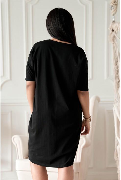 tył czarnej dresowej sukienki Felisa