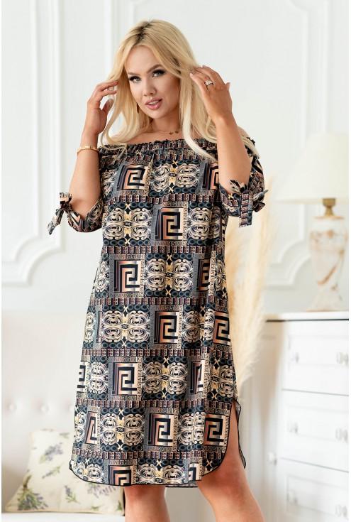 Czarna sukienka w złoto-brązowy wzór