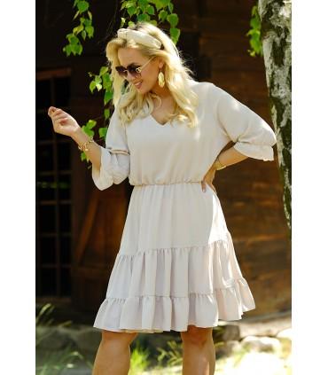 Beżowa sukienka z falbanami - Matilde