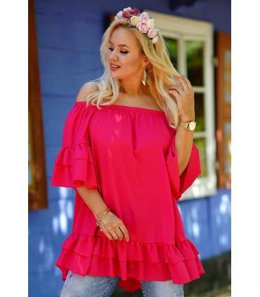 Różowa tunika hiszpanka z falbanami - SYCYLIA