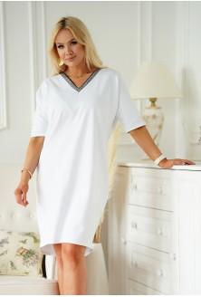 Biała sukienka XXL z dekoltem V