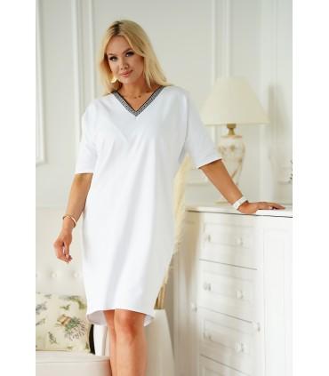 Dresowa biała sukienka z dekoltem V w geometryczny wzór - Felisa