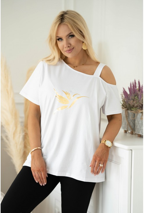 Biała bluzka na ramiączko z nadrukiem