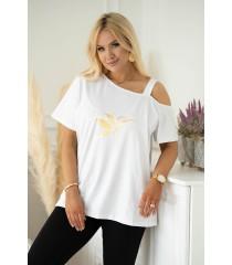 Biała bluzka na ramiączko ze złotym kolibrem - Sheli