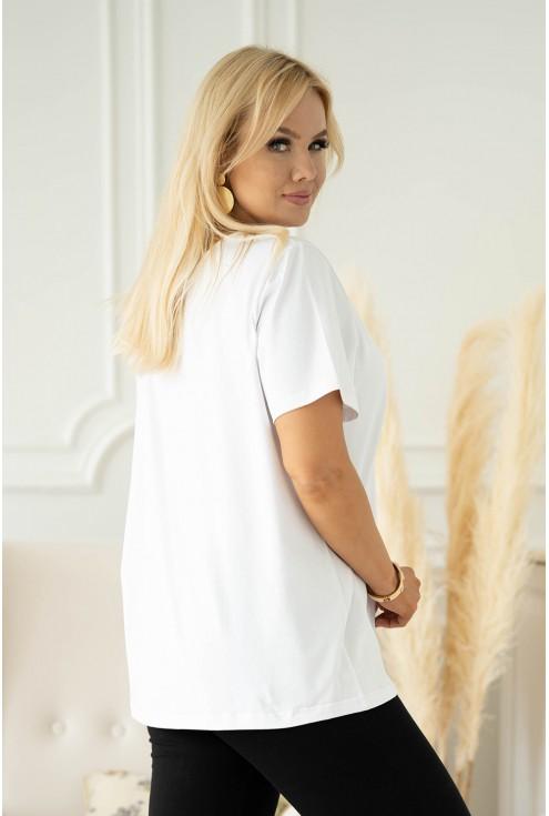 biała bluzka plus size z nadrukiem Sheli