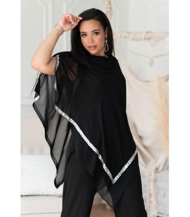 Czarna asymetryczna bluzka ze srebrnymi cekinami taśmami - Rianna