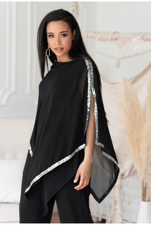 Czarna asymetryczna bluzka Rianna