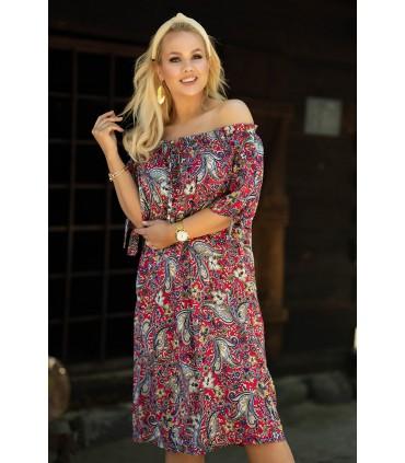 Amarantowa sukienka hiszpanka w orientalny wzór - Loara
