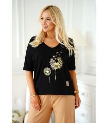 Czarny T-shirt plus size z nadrukiem dmuchawca - Irina