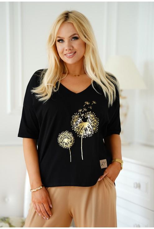 czarna bluzka ze złotym nadrukiem