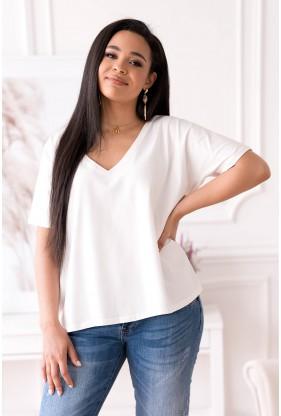 Kremowa bluzka z obniżoną linią ramiona