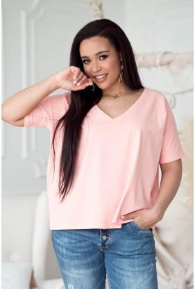 Brzoskwiniowa bluzka z obniżoną linią ramiona