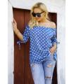 Niebieska bluzka hiszpanka z wzorem w groszki - MARIBEL
