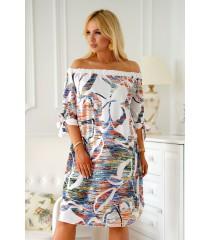Biała sukienka hiszpanka z kolorowym wzorem - MARITA