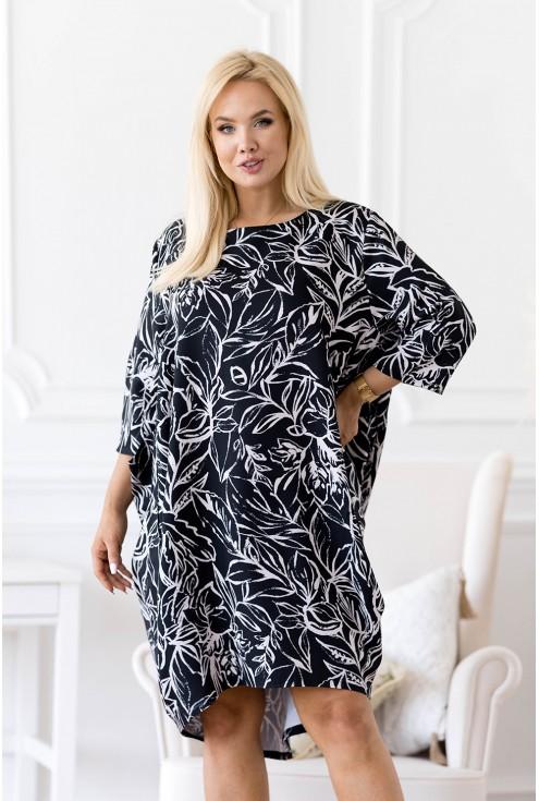 Czarna sukienka z wzorem w liście