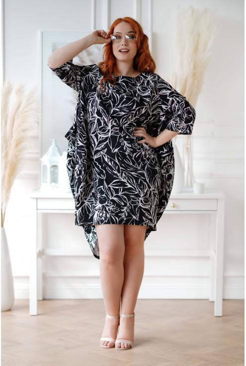 czarna sukienka midi XXL