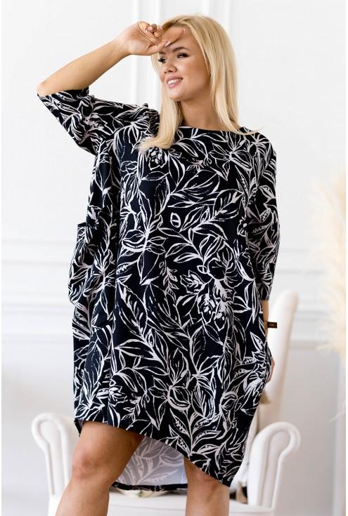 czarna sukienka liście plus size xxl
