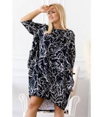 Czarna oversizowa sukienka z wzorem w liście - Palea