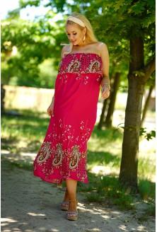 Amarantowa sukienka hiszpanka z wzorem