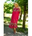 Amarantowa sukienka hiszpanka z wzorem - Aveli