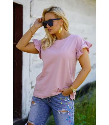 Pudrowa bluzka z falbaną na rękawach - Ferri