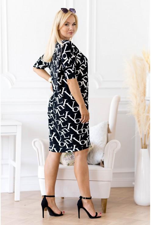 czarna sukienka XXL z białym wzorem